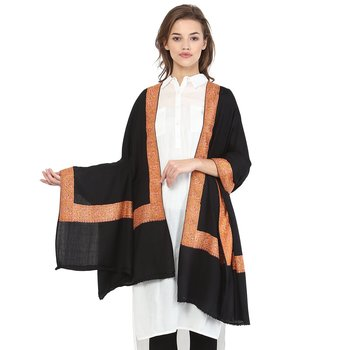 dd8f5c2215 Black Wool Embroidered Pashmina shawl - Pashtush - 2457455