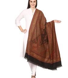 Buy black Wool jacquard Pashmina shawl women-ethnic-wear online