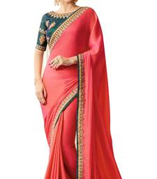 Buy Peach embroidered chiffon saree with blouse bollywood-saree online