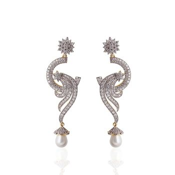 Heena Trendy hanging white pearl Earings