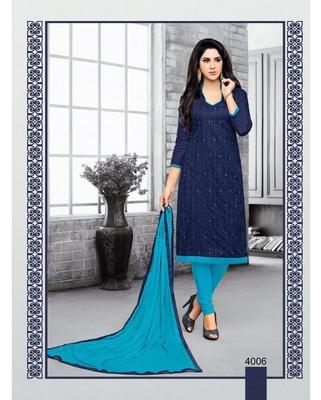 Navy-blue embroidered jacquard salwar