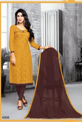 Mustard embroidered jacquard salwar