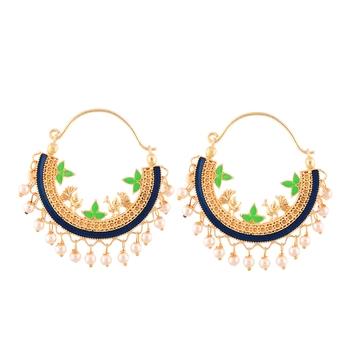 Blue Pearl Hoop Designer Earring