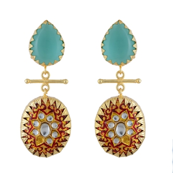 Turquoise Red Handpainted Designer Earring