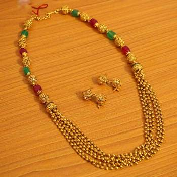 Gold Look Multi Stings Fine Necklace Set
