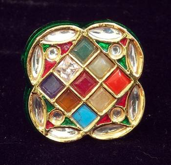 Navratan Stone And Kundan Ring, Adjustable