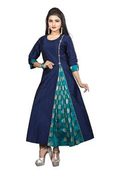 282898673d Blue Color Satin Taffeta With Jacquard Brocade Side Slit Anarkali A-Line  Long Kurti