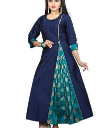 Buy Blue Color Satin Taffeta With Jacquard Brocade Side Slit Anarkali A-Line Long Kurti silk-kurtis online
