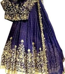 Buy Blue embroidered silk semi stitched lehenga bollywood-lehenga online
