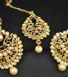 Intricately Carved Gold Ethnic Maang Tikka Jewelry set