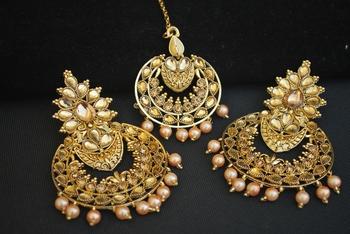 Reeti Fashions - Round Motif Gold Tone Earrings-Maang tikka jewellery set.