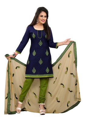 Navy-blue embroidered pure cotton salwar