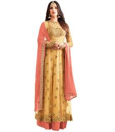 Buy Yellow embroidered georgette Net salwar And Suit semi-stitched-salwar-suit online