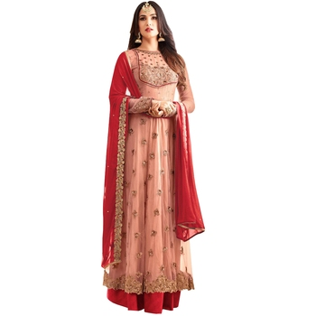 Pink embroidered georgette Net salwar Suit With Dupatta
