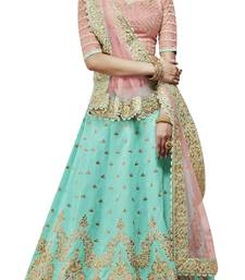 Buy Green embroidered silk unstitched lehenga with dupatta party-lehenga online