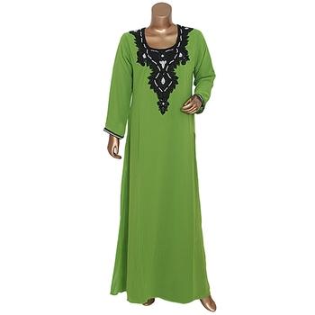 Olive Green Georgette Beaded Kaftan