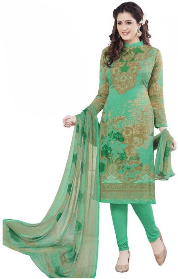 d7b4e55b4c green printed synthetic unstitched salwar with dupatta - Rashmi ...