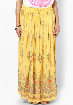 Yellow Embroidered Cotton Long Skirt