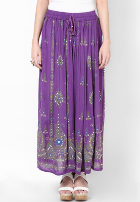 Purple Embroidered Cotton Long Skirt
