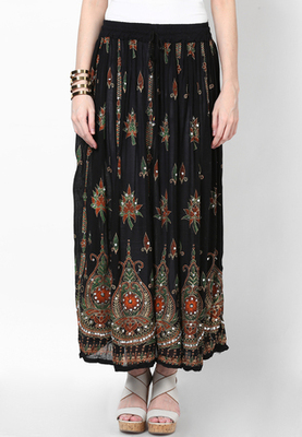 Black Embroidered Cotton Long Skirt