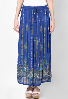 Blue Embroidered Cotton Long Skirt