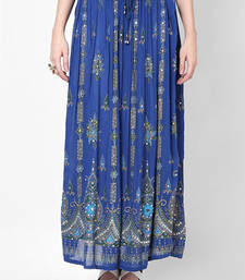 Blue Embroidered Cotton Long Skirt shop online
