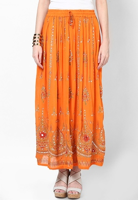 Orange Embroidered Cotton Long Skirt