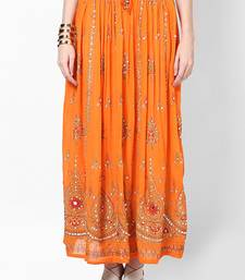 Buy Orange Embroidered Cotton Long Skirt cotton-lehenga online