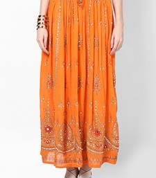 Orange Embroidered Cotton Long Skirt