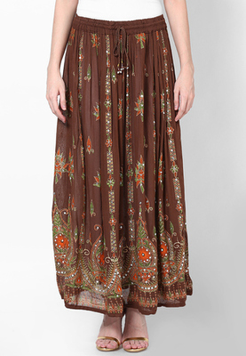 Brown Embroidered Cotton Long Skirt