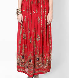 Buy Red Embroidered Cotton Long Skirt skirt online