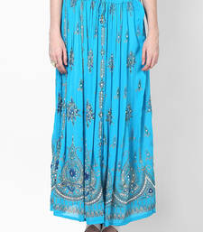 Turquoise Embroidered Cotton Long Skirt