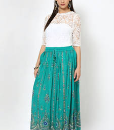 Green Embroidered Cotton Long Skirt