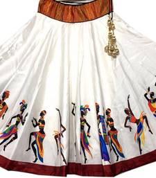 Buy White printed satin stitched lehenga floral-lehenga online
