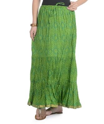 Green Bandhej Printed Cotton Long Skirt