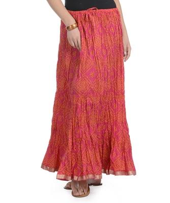 Pink Bandhej Printed Cotton Long Skirt