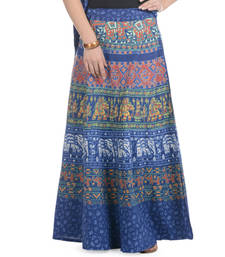 Blue Cotton Printed Wrap Around Long Skirt