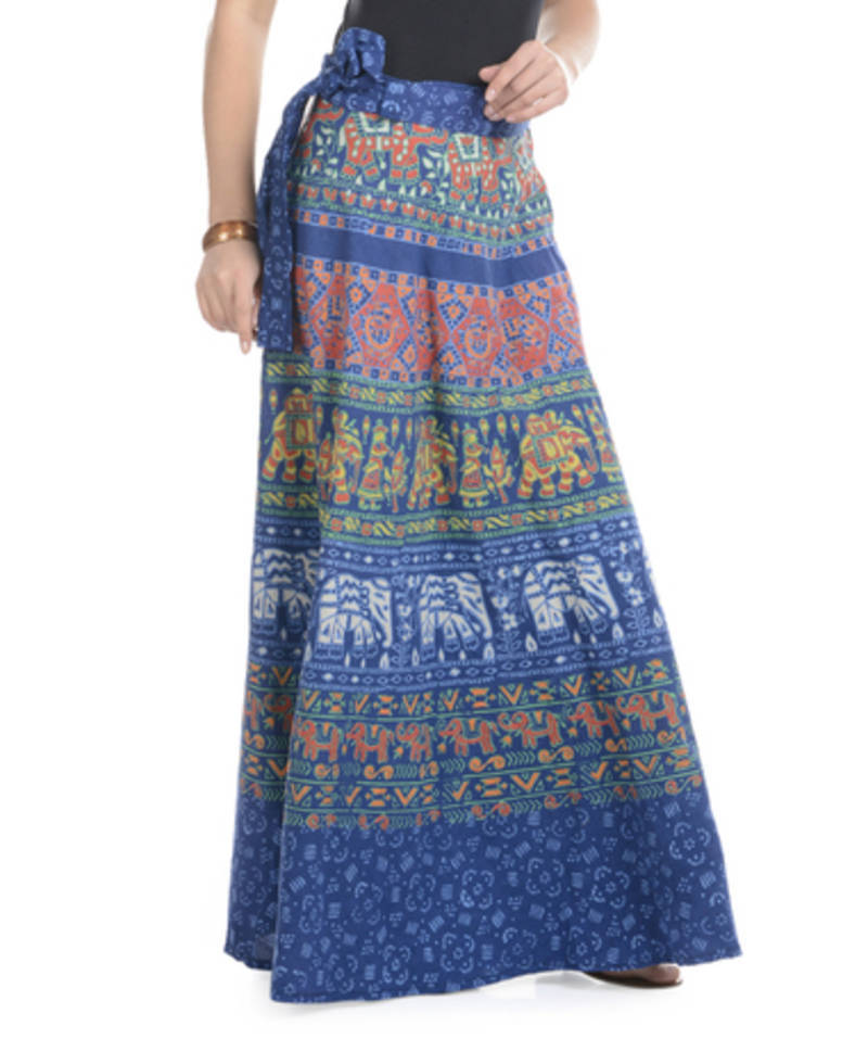 Buy Blue Cotton Printed Wrap Around Long Skirt Online