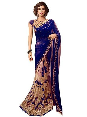 Blue embroidered georgette saree with blouse