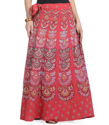 Buy Red Cotton Printed Wrap Around Long Skirt navratri-skirt online