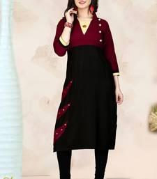 Maroon hand woven rayon long-kurtis