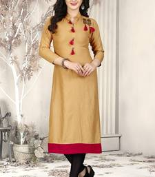 Buy Gold hand woven rayon long-kurtis long-kurtis online