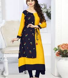 Buy Yellow hand woven rayon long-kurtis long-kurtis online