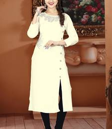 Dark white hand woven rayon long-kurtis