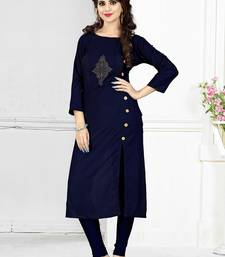 Buy Blue hand woven rayon long-kurtis long-kurtis online