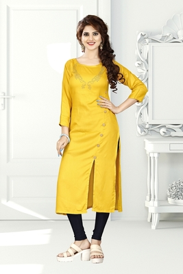 Yellow hand woven rayon long-kurtis
