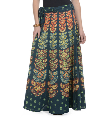 Green Cotton Printed Wrap Around Long Skirt