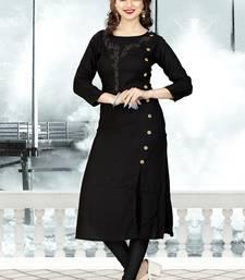Black hand woven rayon long-kurtis