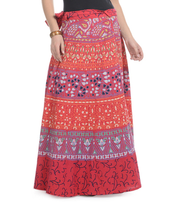 Red Cotton Printed Wrap Around Long Skirt