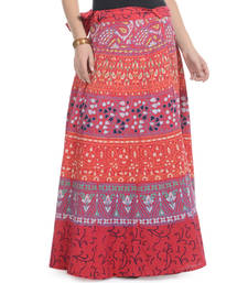 Buy Red Cotton Printed Wrap Around Long Skirt plus-size-skirt online